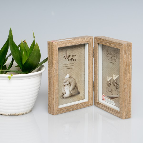 CECIINION Wood Picture Frame, Hinged Double Picture Frame, Double 4 ...